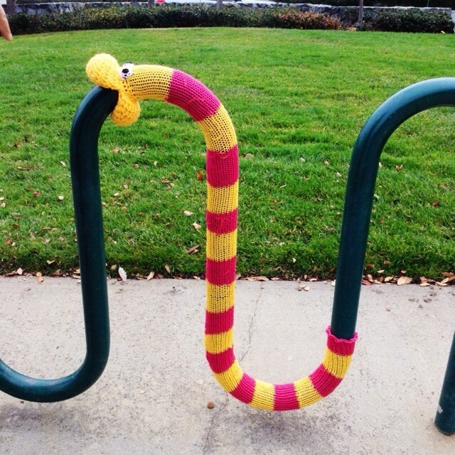bike rack worm yarnbomb