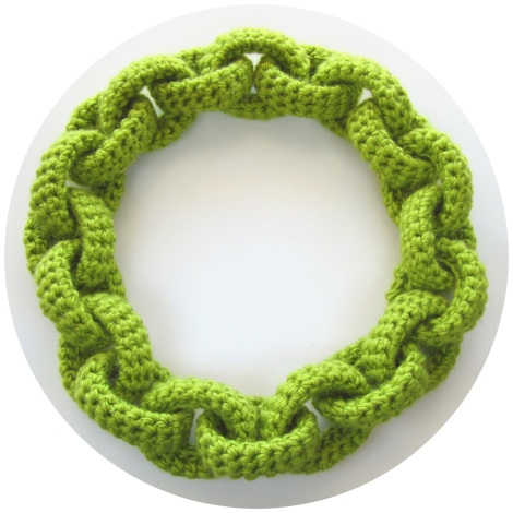 chartreuse crochet chain link scarf