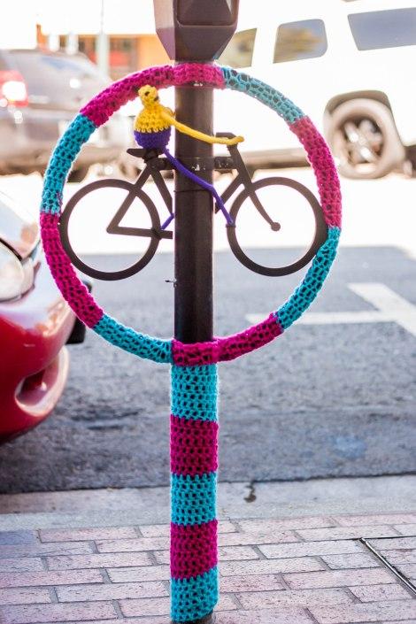 Bike Rack Meter Yarn Bomb