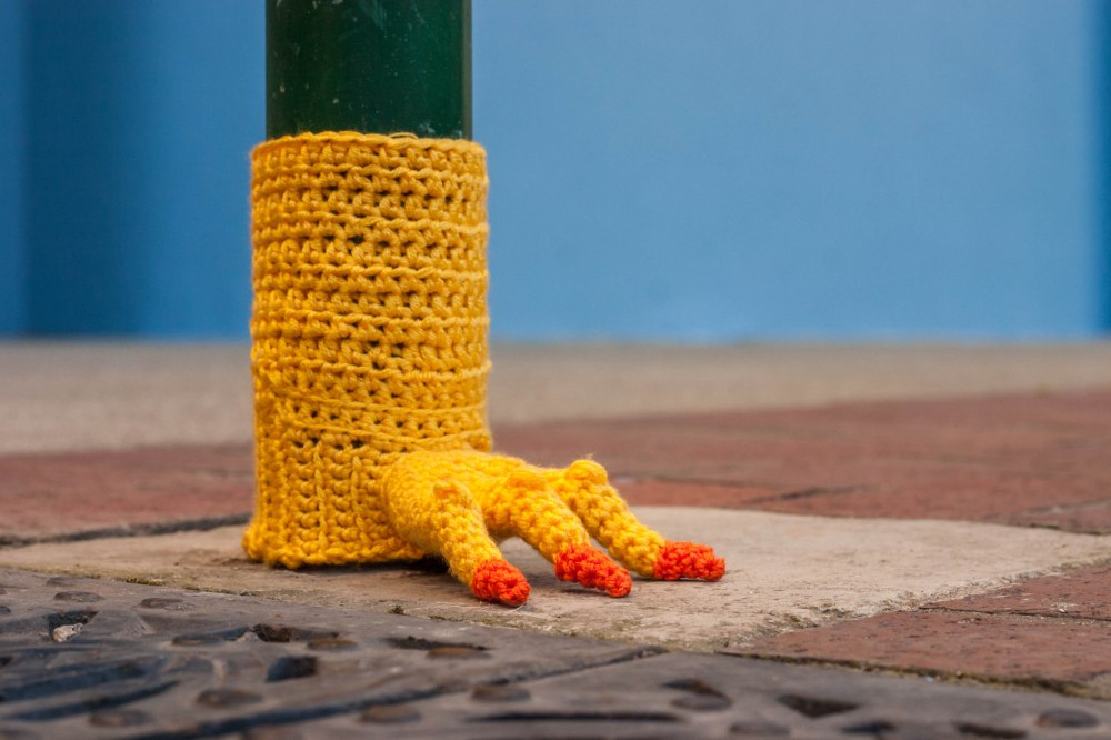 Chicken Feet Meter Yarn Bomb