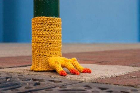 Chicken Feet Meter Yarn Bomb