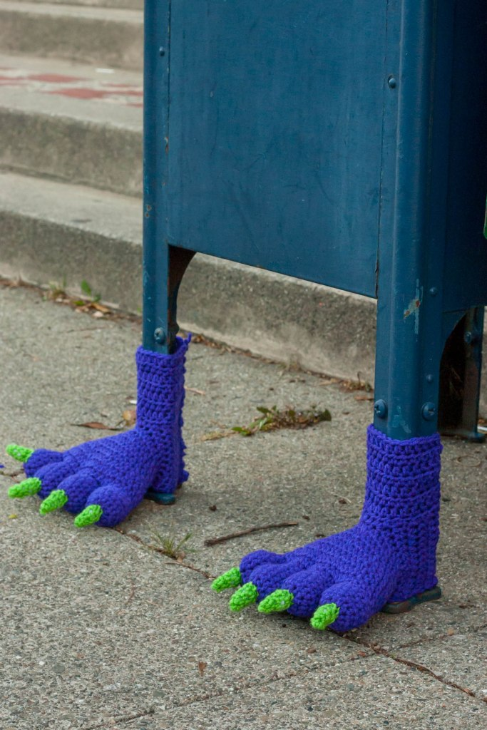 Monster Feet Mailbox Yarn Bomb
