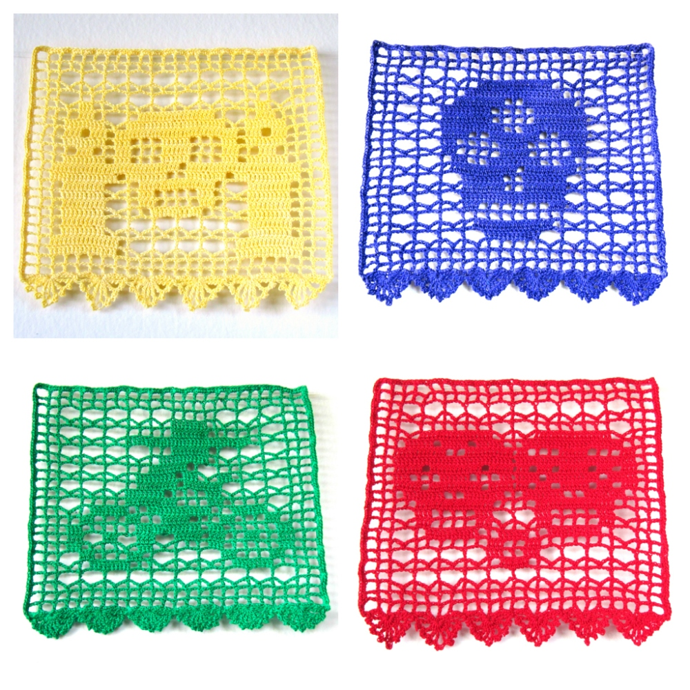 filet crochet papel picado collage