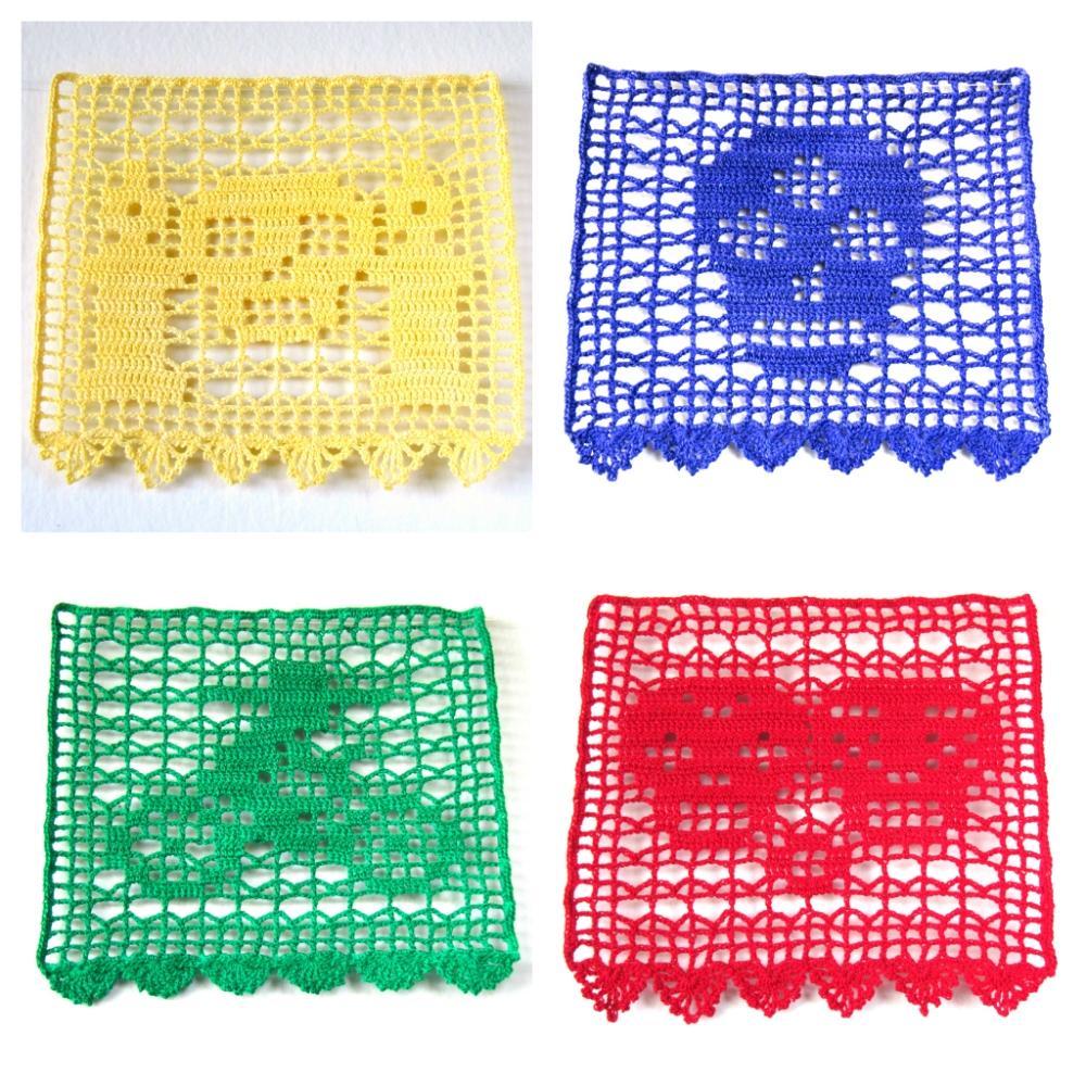 filet crochet papel picado collage