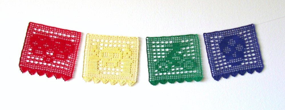 Filet Crochet Day of the Dead Papéles Picados