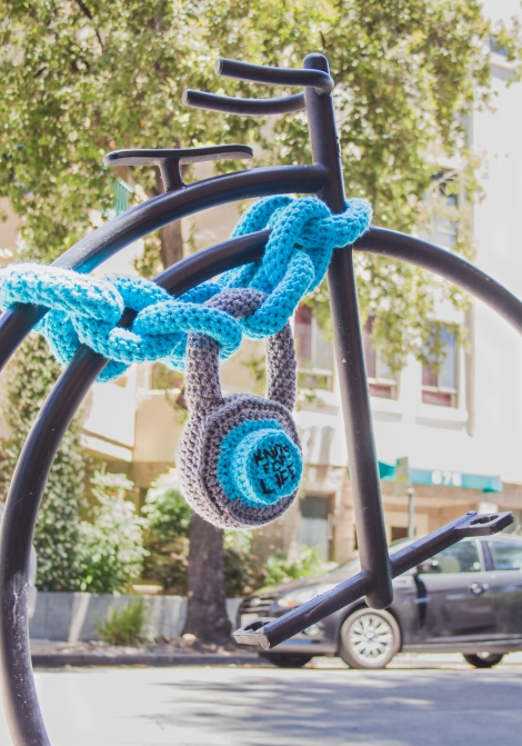 Chain & Padlock Yarnbomb