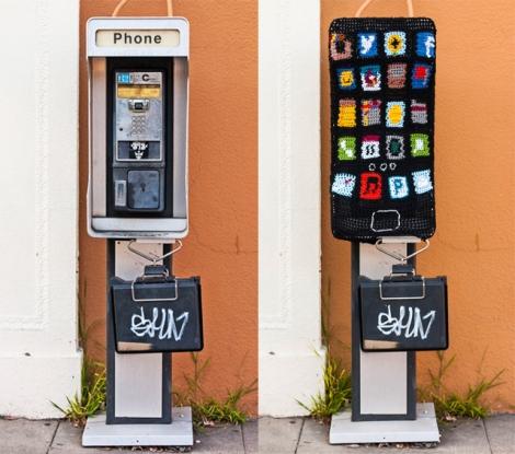 Yarn bombed pay phone