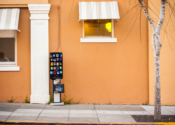 Yarn bombed pay phone