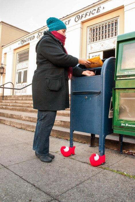 yarn bombed mailbox christmas elf