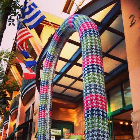 bike rack yarn bomb san mateo