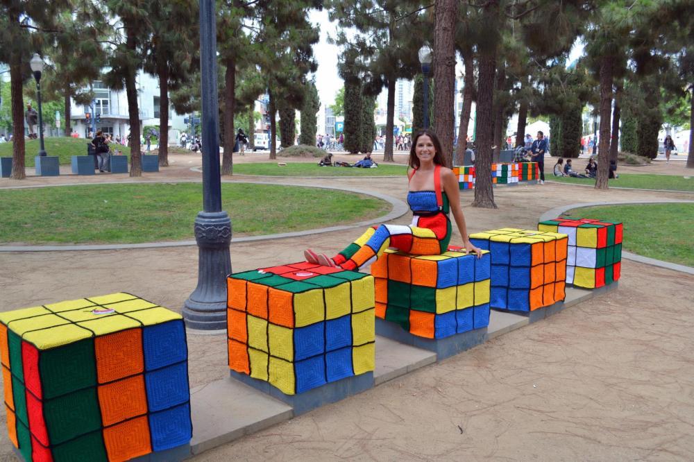 Rubics Cubes San Diego ComicCon Yarnbomb