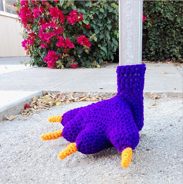 monster foot yarnbomb