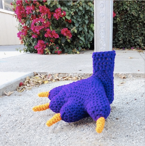 monster foot yarnbomb