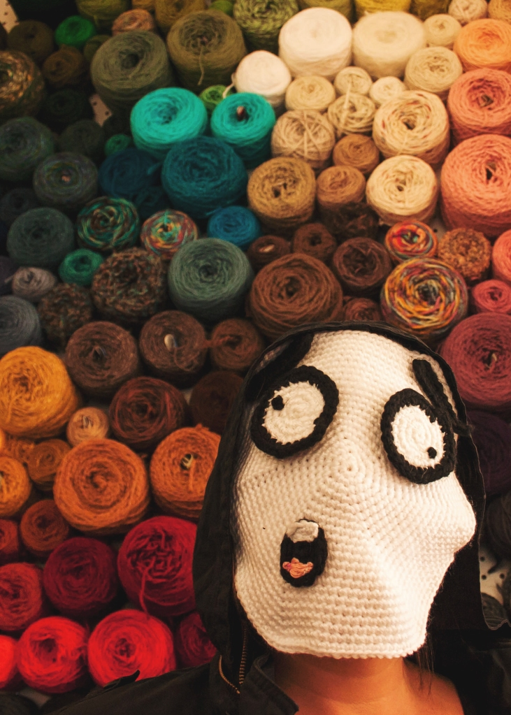 Yarn storage idea: Peg board yarn wall