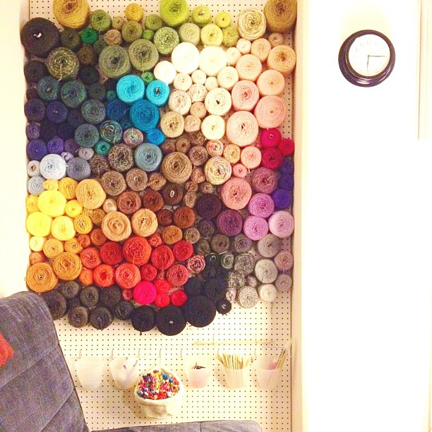 Knits for Life yarn wall
