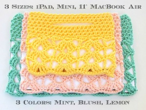 Crochet Lace Laptop Bags Three Sizes Text
