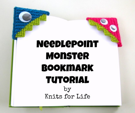 Needlepoint Monster Bookmark Tutorial title