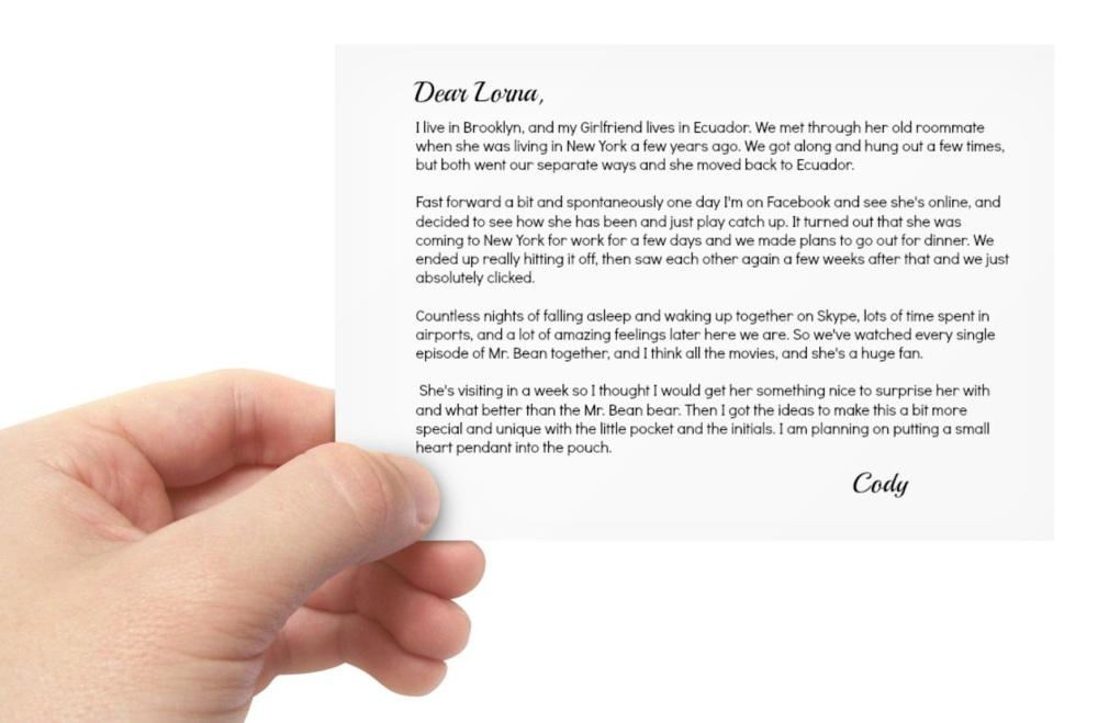 custom knit mr bean bear letter