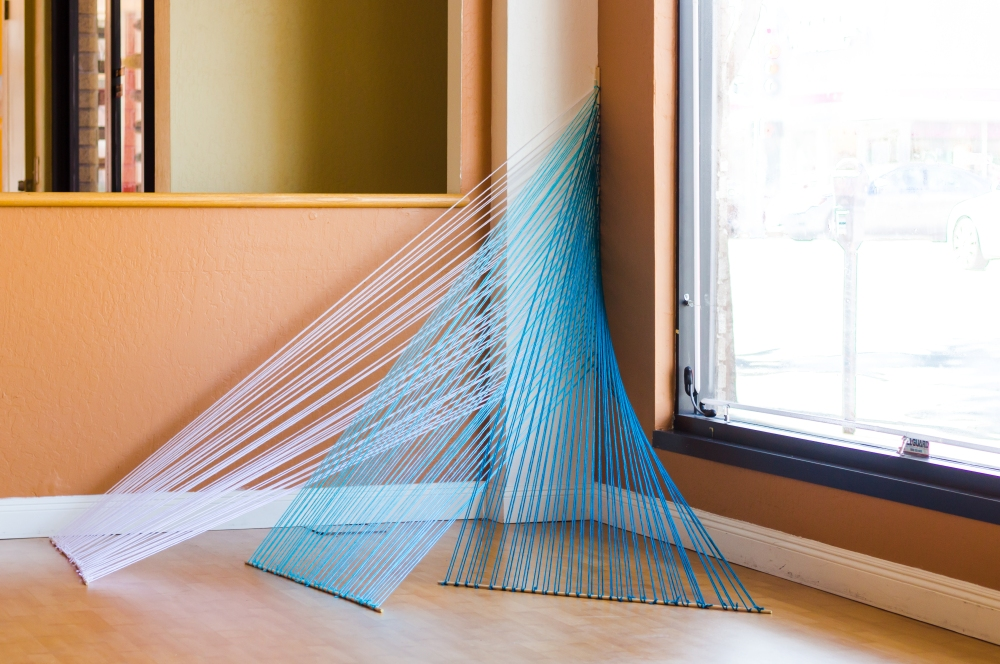 String art installation by knits for life