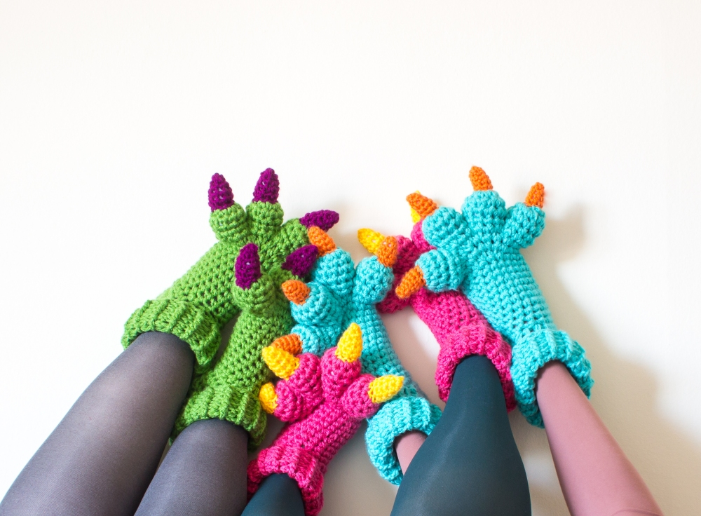 Free Crochet Pattern For Monster Slippers : New Crochet Pattern: Monster Slippers KNITS FOR LIFE
