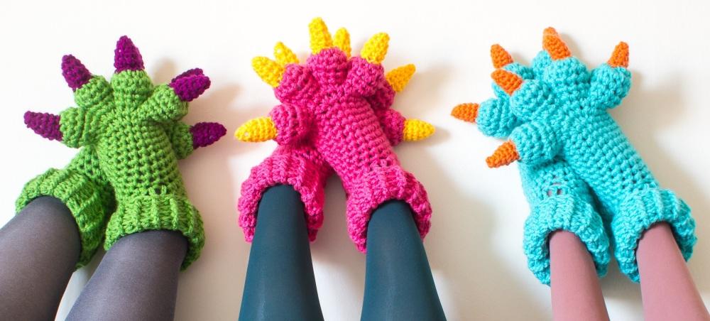 Monster Slippers Crochet Pattern crossed