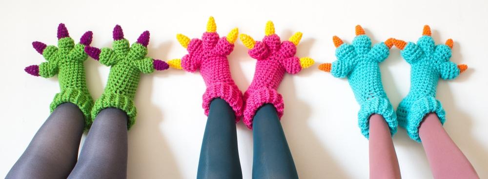 Monster Slippers Crochet Pattern main crop