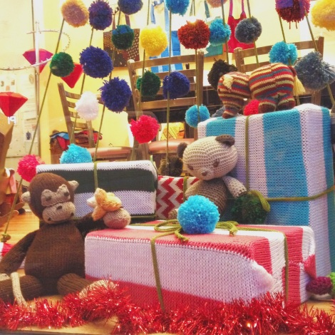 Knit Christmas Window Display