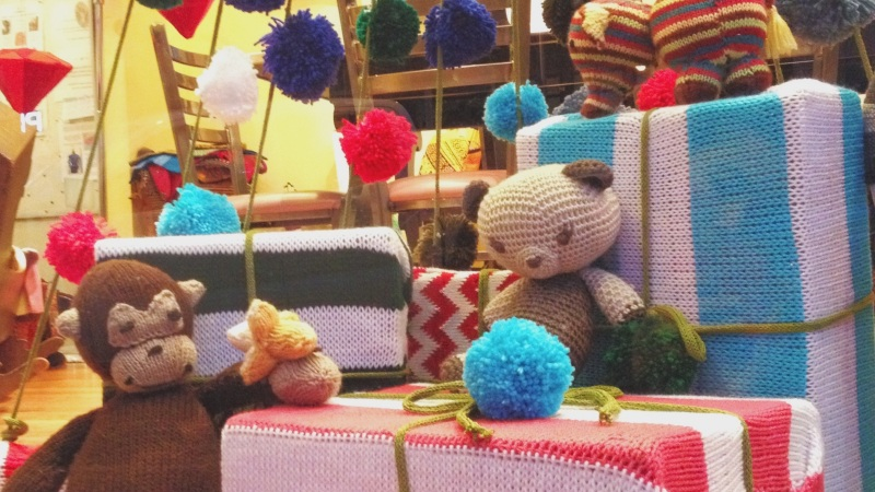 We Knit a Window Display for our Local Yarn Shop