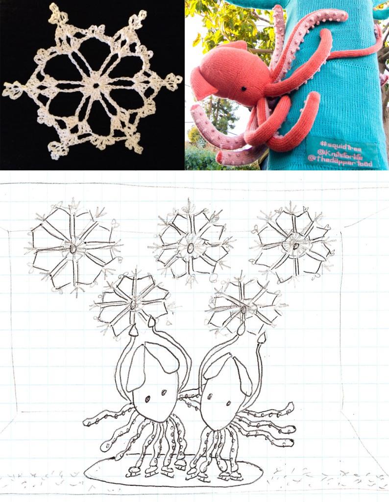 knit window display winter olympics