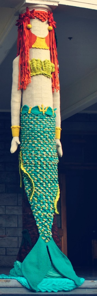 mermaid yarnbomb
