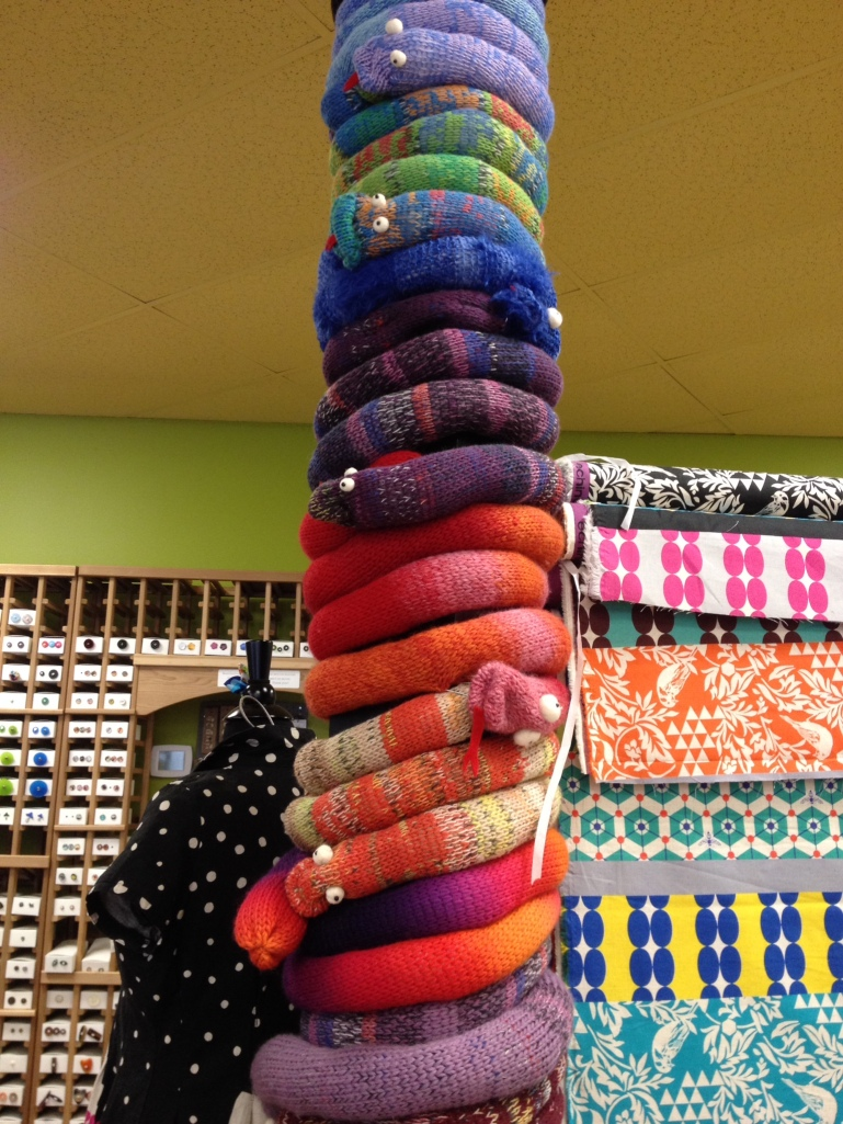 Yarnbombing at Maker's Mercantile