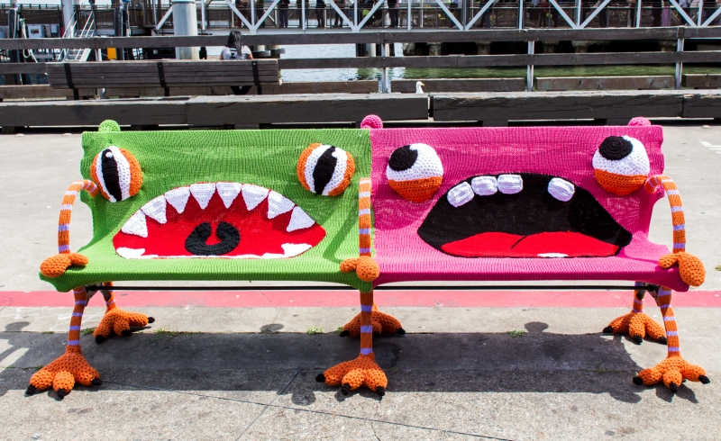 New Buttmunches Yarnbomb: Monster Benches at the FerryBuilding