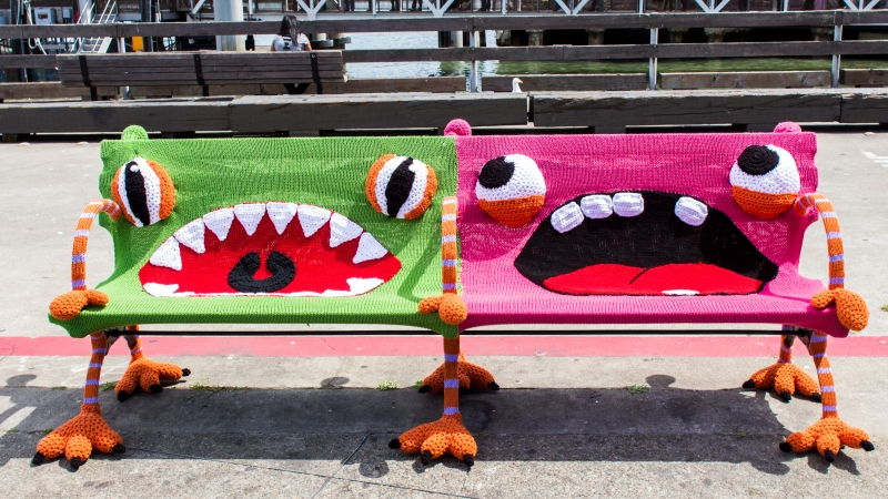 New Buttmunches Yarnbomb: Monster Benches at the Ferry Building