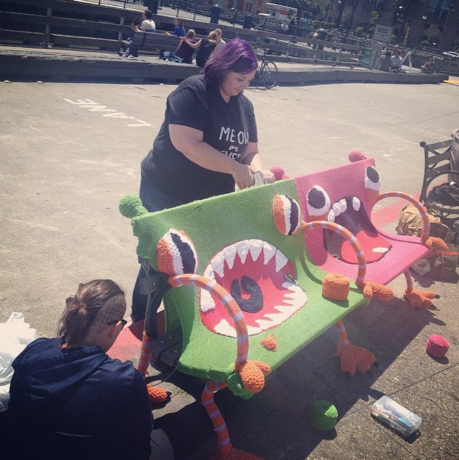 Buttmunch yarnbomb Monster benches san francisco ferry building