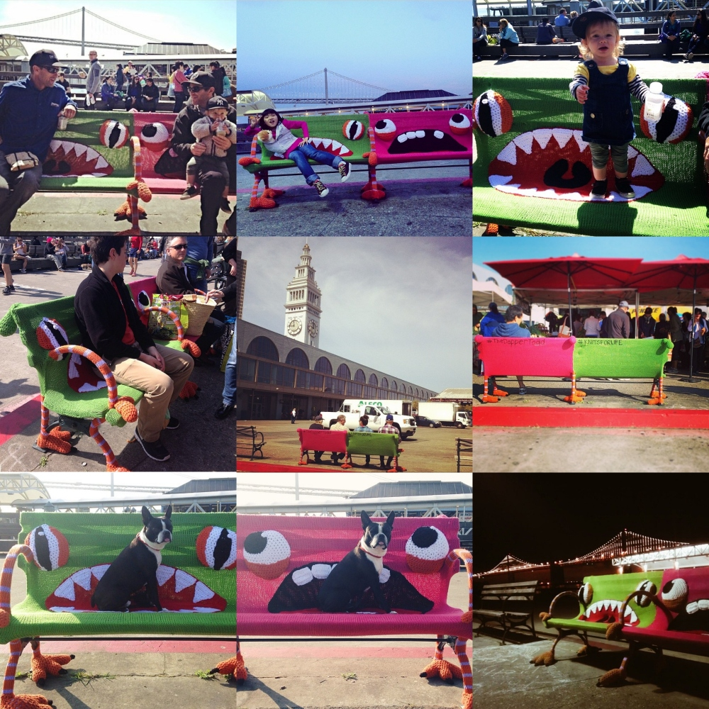 Buttmunch yarnbomb monster bench ferry building