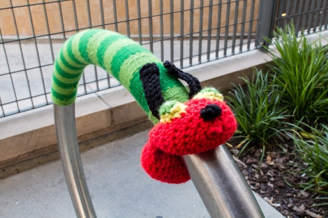 The Very Hungry Caterpillar yarnbomb