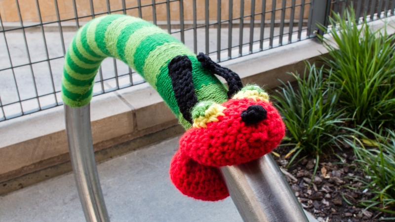 Story Time Yarnbomb at the San Mateo Library