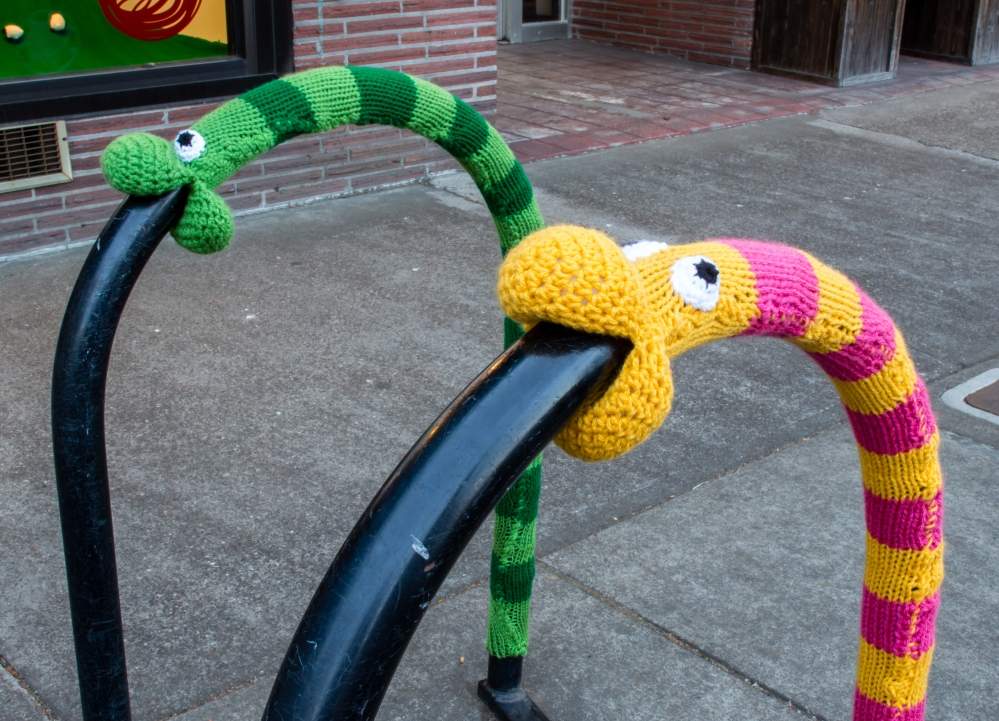 Worm and snake yarnbomb