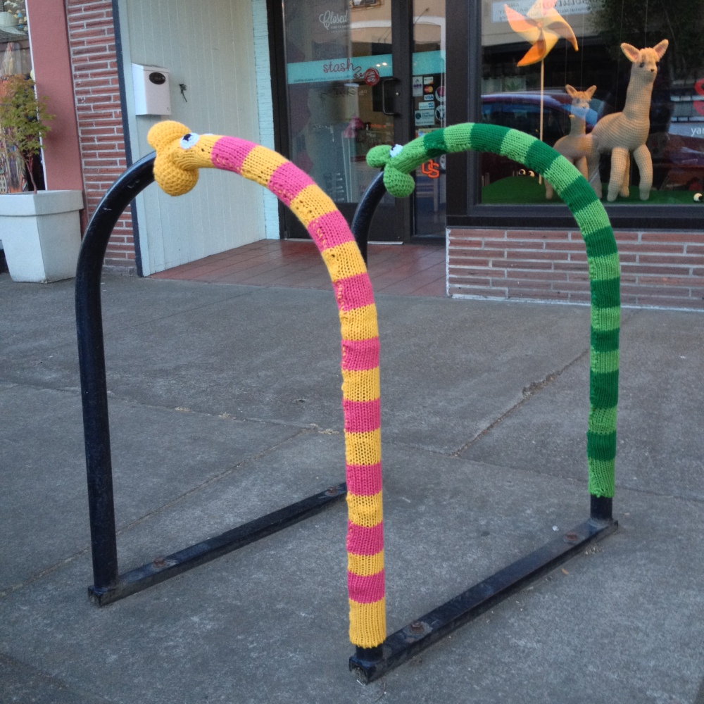 Worm and snake yarnbombs