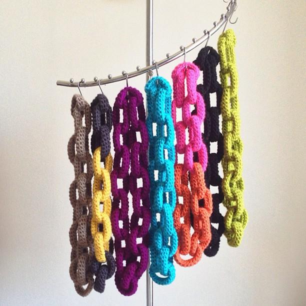 Crochet Chain Link Scarves on rack