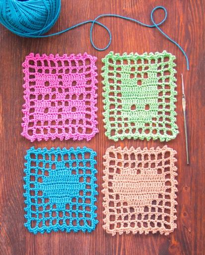 Filet Crochet Coasters
