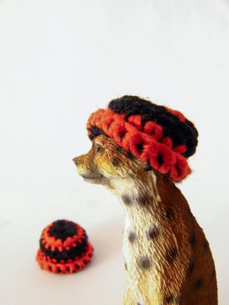 miniature crochet beanie