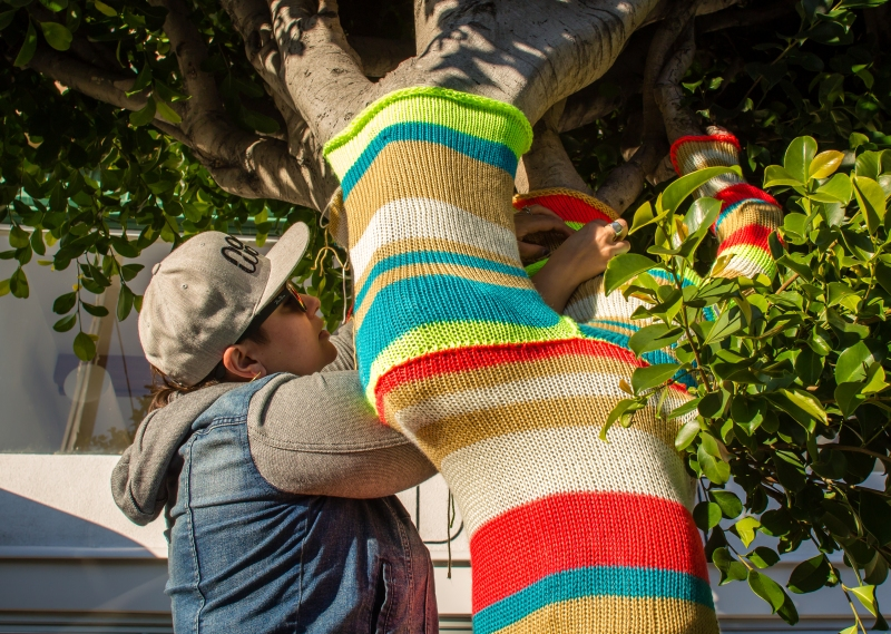 Yarnbomb at SF's new Seed + Salt