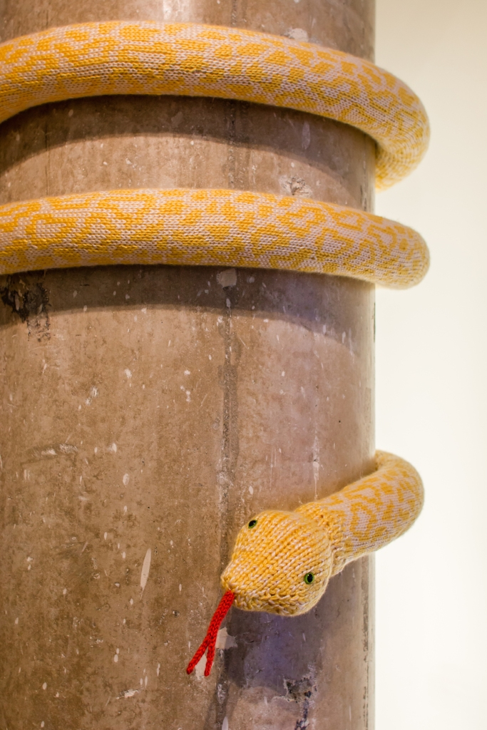 Knit Albino Burmese Python Yarnbomb Installation