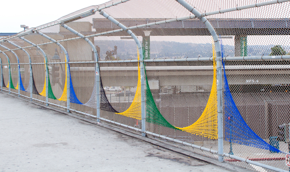 Oakland Coliseum String Art Yarn Bomb