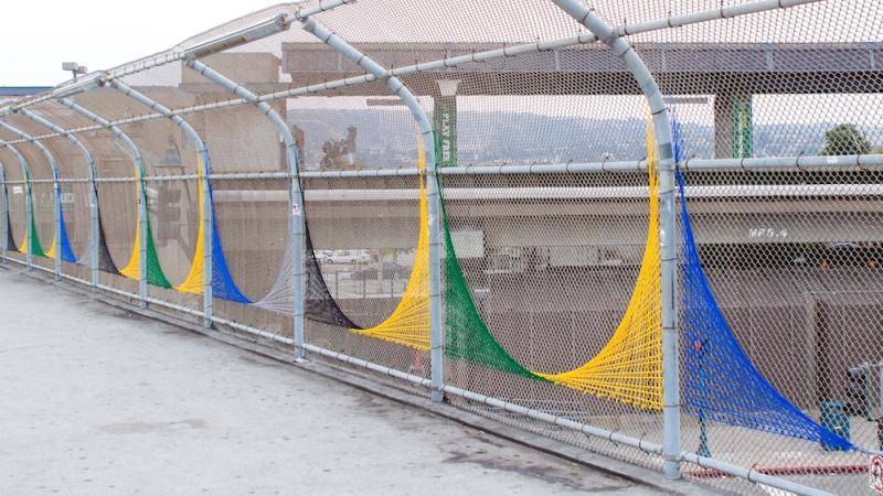 Oakland Coliseum String Art YarnBomb