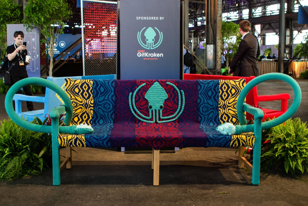 Knit bench yarn bomb knit props GitKraken2