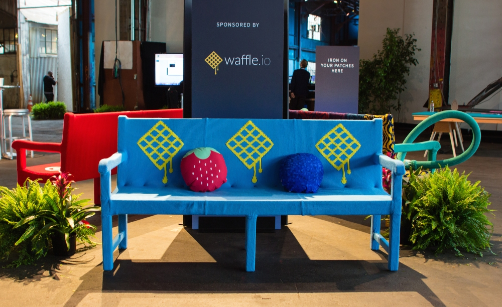 Knit bench yarn bomb knit props Waffle3