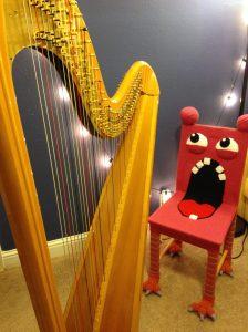 knit monster chair harp