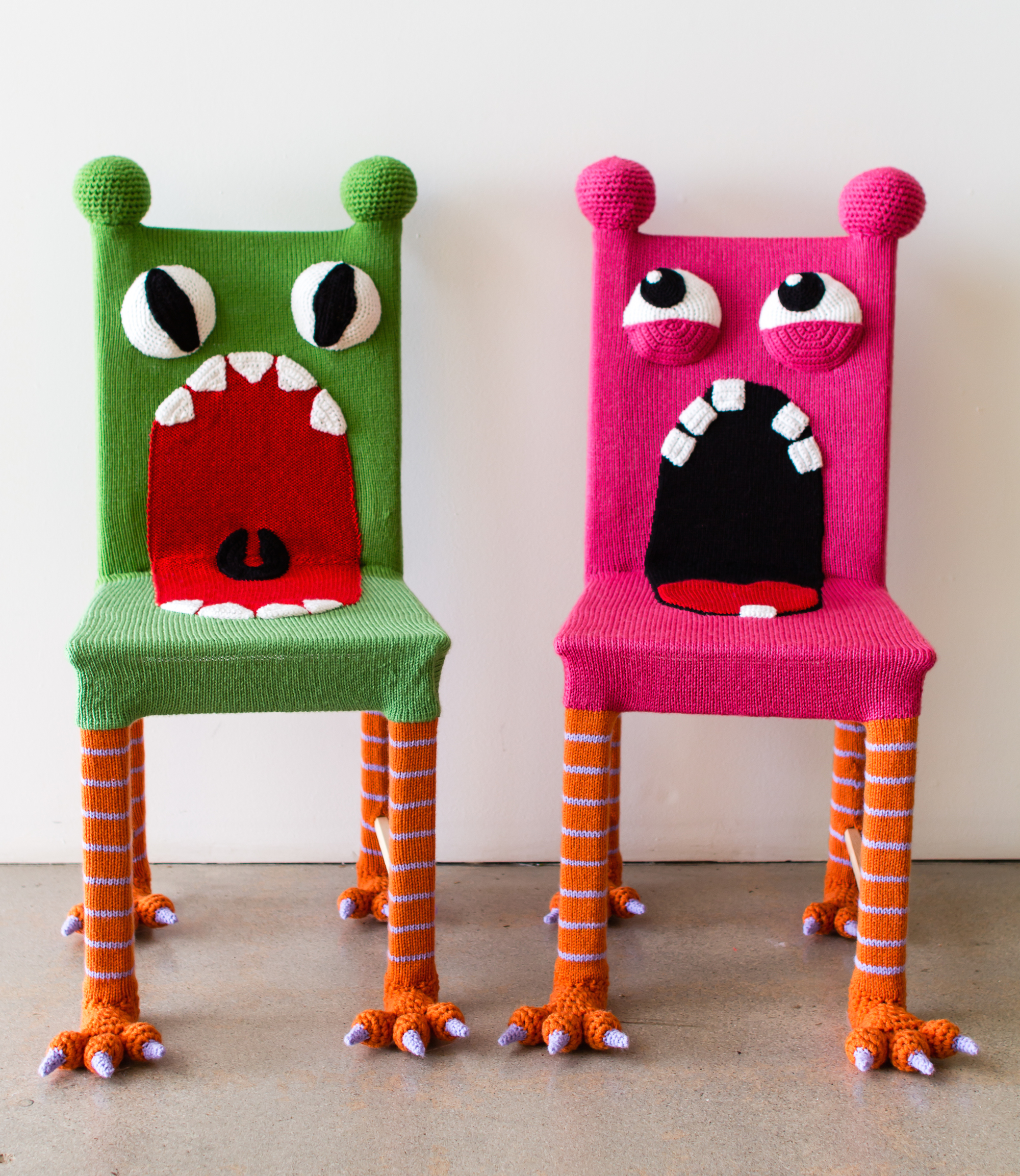 Yarn Bombed Monster Chairs | KNITS FOR LIFE